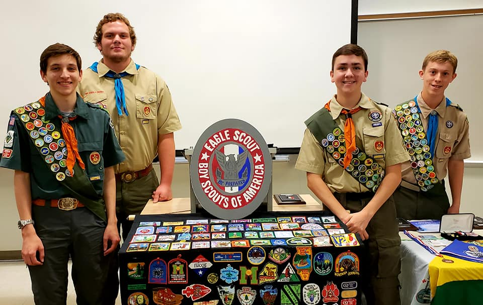 Scouts from Troop 19 receiving their Eagle Scout rank
